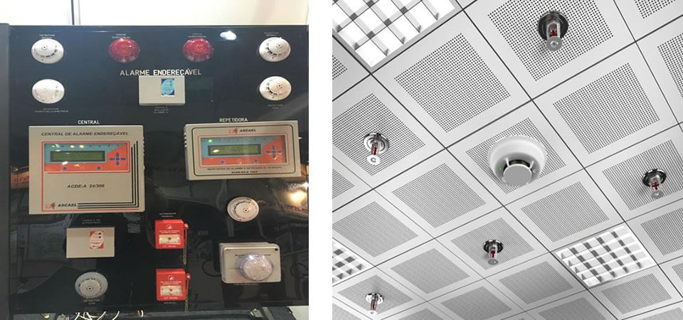Detectores e alarme de incendio